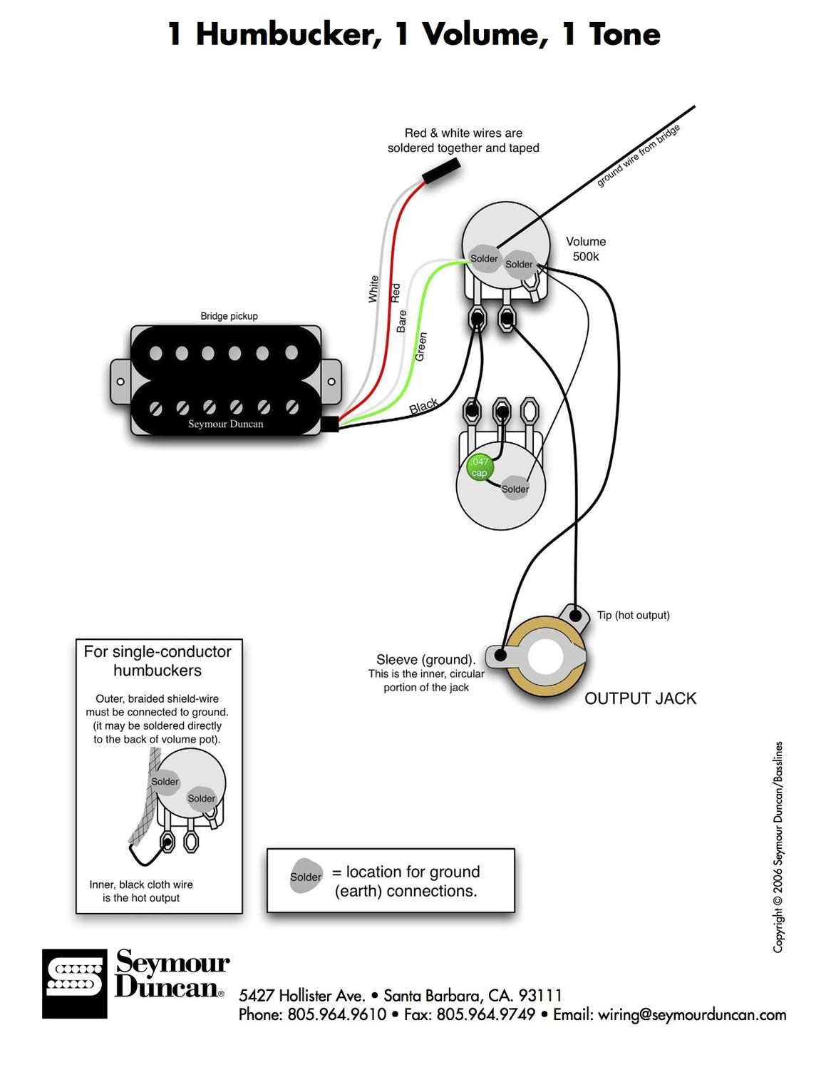 with diagram for humbucker wiring volume control guitar wiring diagram 1 humbucker 1 volume single humbucker wiring issue - offsetguitars.com