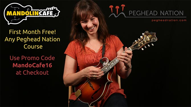 Peghead Nation partners with Mandolin Cafe to offer visitors a first month free, or  off an annual subscription, when they sign up for any course on PegheadNation.com.