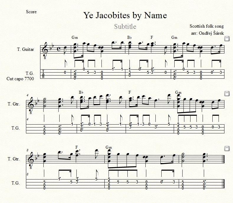 Ye Jacobites By Name Tenor Guitar With Cut Capo And Capo