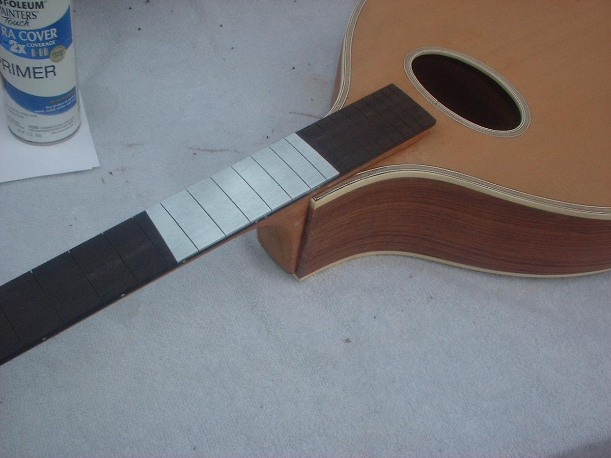 Fingerboard inlay and glue-in fret job tutorial