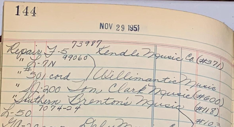 Gibson Shipping Ledger - November 29, 1951