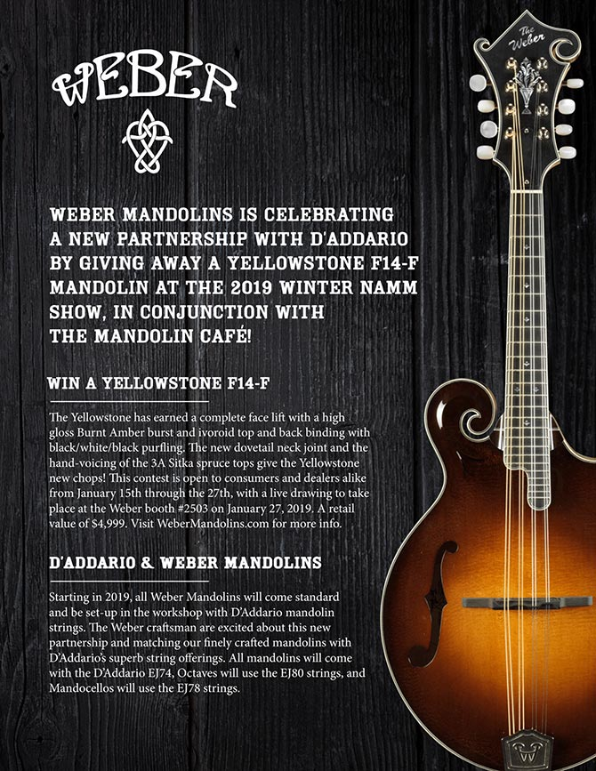 Weber Mandolins Winter NAMM Yellowstone Celebration and Giveaway