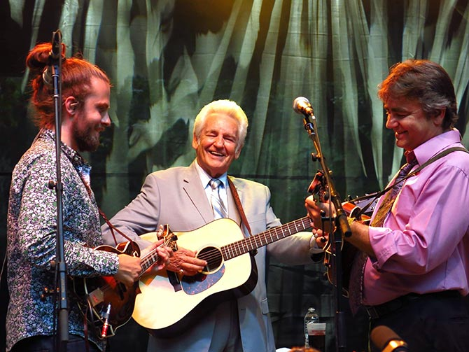 Jacob, Del McCoury and Ronnie McCoury at Northwest String Summit in North Plains.