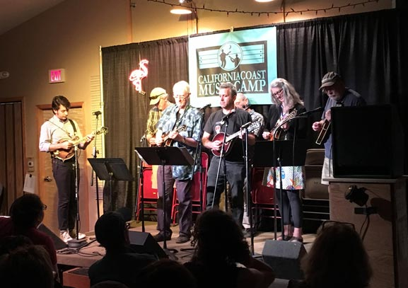 Tristan Scroggins and mandolin campers