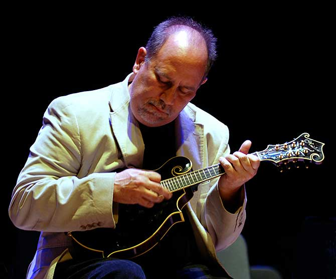 Emory Lester with his Heiden Mandolin