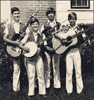 Mike with the Sunshine State Boys, circa 1973. L-R: Allen Water, Ron Rimmer, Mike Marshall, Joey May. Click to enlarge.