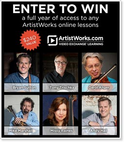 Artistworks and the Mandolin Cafe are giving away a year's subscription to any Bluegrass School. Registration for a chance to win commences April 12.