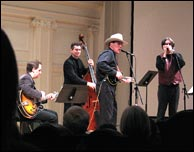 The Don Stiernberg Trio (Andy Brown, guitar, Jim Cox, bass) with special guest Howard Levy play a Western Swing set for The Music Institute of Chicago, January 2010. Photo credit: Charles Osgood, Chicago Tribune. Click to enlarge.