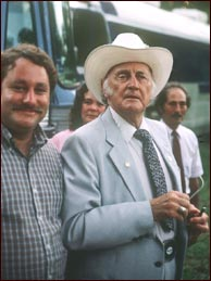 Bill Graham, left, with Bill Monroe at the 1986 Shady Hills Bluegrass Festival in the Missouri Ozarks. Photo credit: Bill Graham. Click to enlarge.