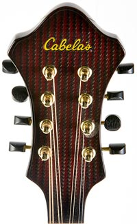Cabela's Signature Model Mandolin headstock and logo inlaid  with select Alaskan gold dust.