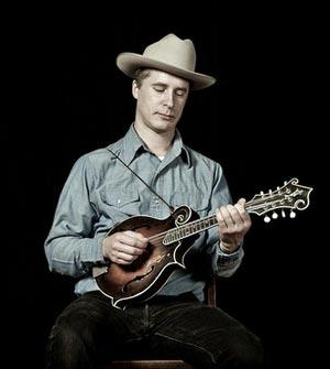 Foghorn Stringband front man Caleb Klauder with his John Sullivan mandolin.