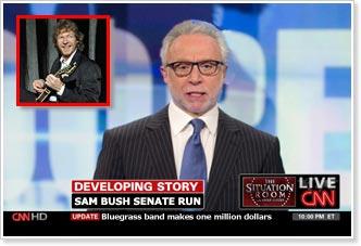 CNN News announces Sam Bush's entry into the competitive 2014 Kentucky Senate race