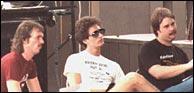 L-R: Mark O'Connor, Paul Glasse, Bobby Clark, judging the 1983 Buck White International Mandolin Championships. Bobby won in 1980, Paul won in 1981, Mark won in 1982. Photo credit, unknown.