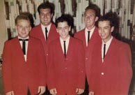 The Country Boys, 1961. L-R: Eric White, Leroy Mack (McNees), Clarence White, Billy Ray Lathum, Roland White. Click to enlarge.