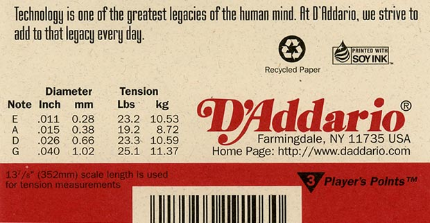 D'Addario string loads