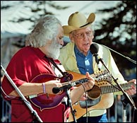 David Grisman and Curly Seckler with the newly refinished F2. Click image to enlarge - photo credit: Jay Blakesberg