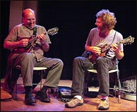 Don Stiernberg and Sam Bush at the 2006 Mandolin Symposium. Photo credit: Phil Goldman. Click to enlarge.