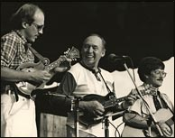 L-R: Don Stiernberg, Jethro Burns, John Parrot at the Winnipeg Folk Festival 1982. Photo credit: E.J. Stiernberg. Click to enlarge.