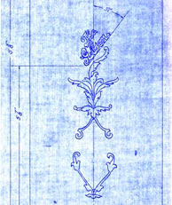 With some diligent sleuthing, Bill Halsey found the original drawing for the F-5 fern inlay. Click to enlarge. Reproduction rights reserved.