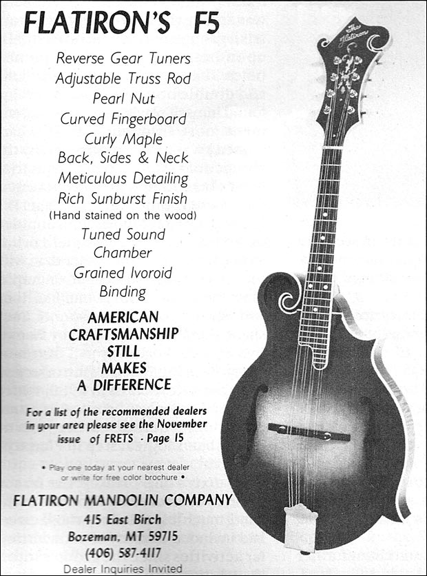 March 1985 Frets Flatiron F-5 ad