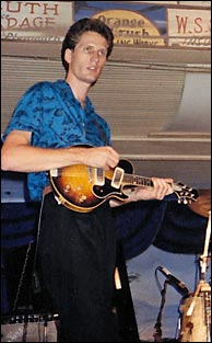 Gruene Hall, Gruene TX, with first Stevens electric mandolin. Photo credit, unknown. Click to enlarge.