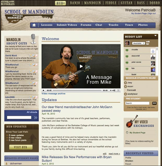 School of Mandolin student login welcome screen