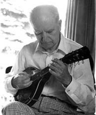 Julius Bellson in his home (ca. 1975) with his Gibson style A-4 mandolin. Click to enlarge. Reproduction rights reserved.