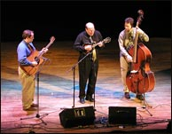 L-R: Curt Morrison on guitar, Don Stiernberg, and Jim Cox on bass at Mandofest 2005, Lawrence, Kansas. Click to enlarge.