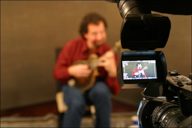 Mike Marshall filming a School of Mandolin lesson
