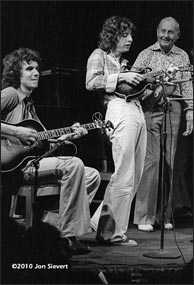 Mike Marshall's first appearance with the David Grisman Quintet, October, 1978. L-R: John Ethridge, Mike Marshall, Stephane Grappelli. Photo copyright Jon Sievert, humble archives. Click to enlarge.