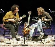 Mike Marshall and Chris Thile on tour, 2003. Photo credit: Gary Payne.
