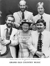 1984 - NBB formed to tour with Minnie Pearl and others on the The Grand Old Country Music Show. Alan O'Bryant, Mike Compton, Minnie Pearl, Mark Hembree and Pat Enright. Photo credit: Nashville Bluegrass Band. Click to enlarge.