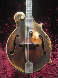 Bill Monroe's Lloyd Loar mandolin on display at the Country Music Hall of Fame. Photo credit: Scott Tichenor. Click to enlarge.