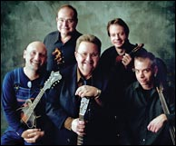 Nashville Bluegrass Band, 2009. L-R: Mike Compton, Alan O'Bryant, Pat Enright, Stuart Duncan, Andy Todd. Photo credit, Jim McGuire. Click to enlarge.