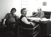 Left to right: Bruce Bolen, Roger Siminoff, Jim Deurloo in Jim's office on the first floor of the old (1917) building, ca. 1976. Click to enlarge. Reproduction rights reserved.