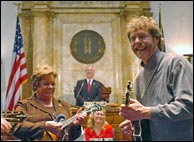 Sam Bush performs after being honored on March 17, 2008 with a resolution from the Commonwealth of Kentucky for his contributions to New Grass music. Click to read full story.