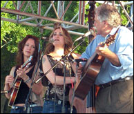 Sharon with Bryn Bright and Peter Rowan. Photo credit: Ricky Speight. Click to enlarge
