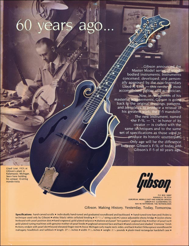 Gibson F-5L ad