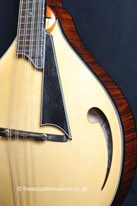 A single-hole comma soundhole mandolin by Lawrence A. Smart. Photo credit: The Acoustic Music Company. Click for additional pictures and discussion on the Mandolin Cafe forum.