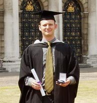 Chris with his Trinity College of Music Trust Silver Medal for String Studies in 2006. Photo credit: Penny Genovese.