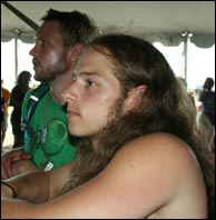 Click to enlarge. Fan Phil Kilmer waits for the Dawg at the 2008 Wakarusa Festival. Photo by Bill Graham