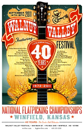 Walnut Valley Festival 40th Anniversary poster from 2011.