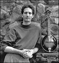 Paul with his then still new Monteleone Style B mandolin. Photo credit, John Glasse. Click to enlarge.