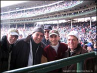 L-R: Blue Night Records President, Steven Briggs, Don Stiernberg, recording engineer, Steve Rashid, and John Carlini take a break at Chicago's Wrigley Field between recording sessions for their all-Gershwin CD,